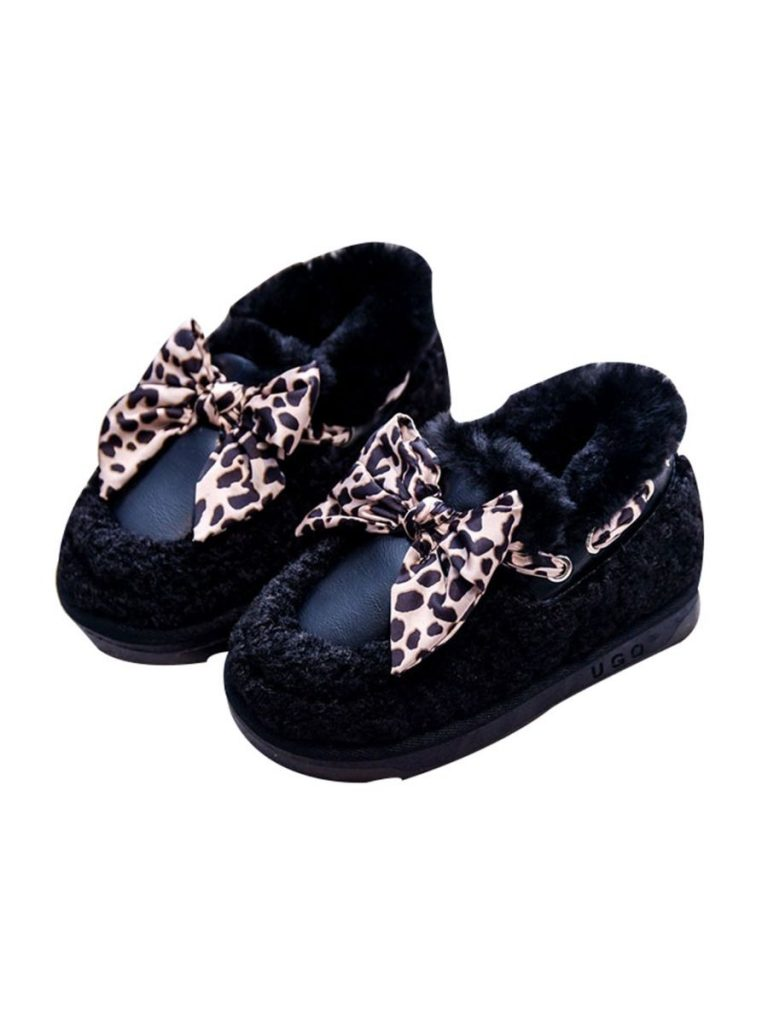 kiskissing wholesale Kid Girl Bow Decor Fleece Shoes Wholesale