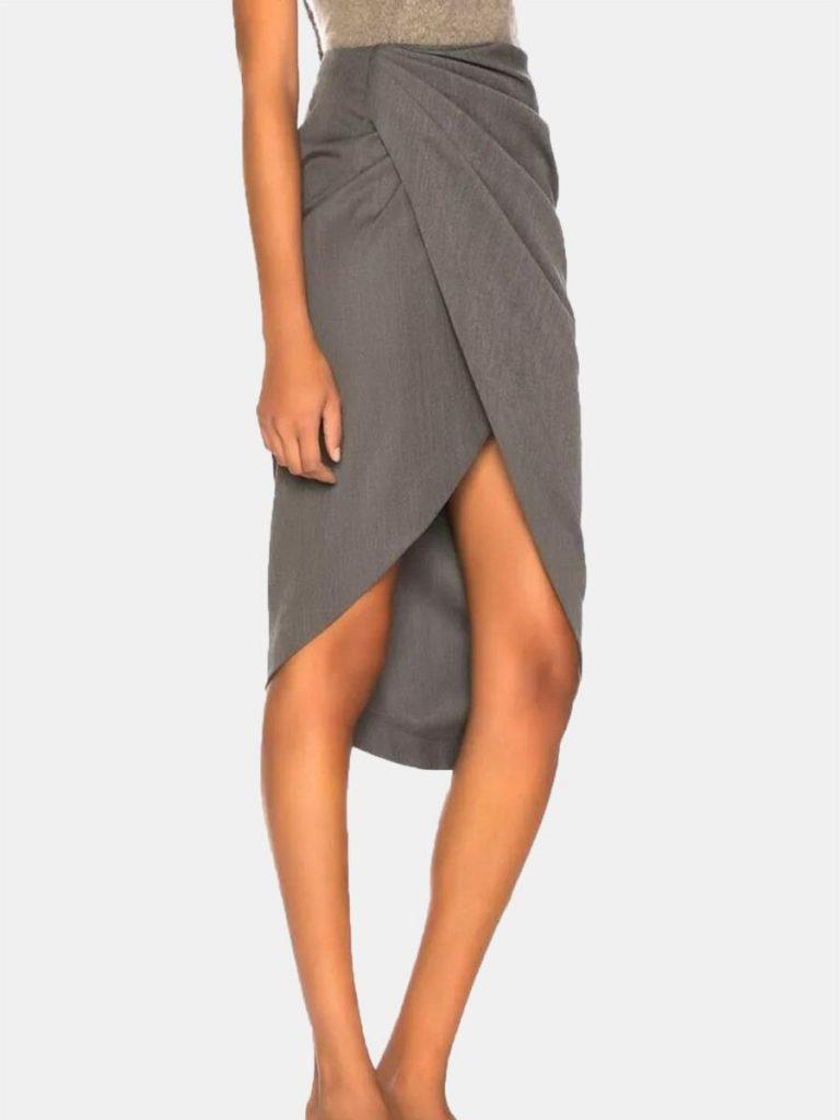 shestar wholesale solid color pleated irregular hem skirt