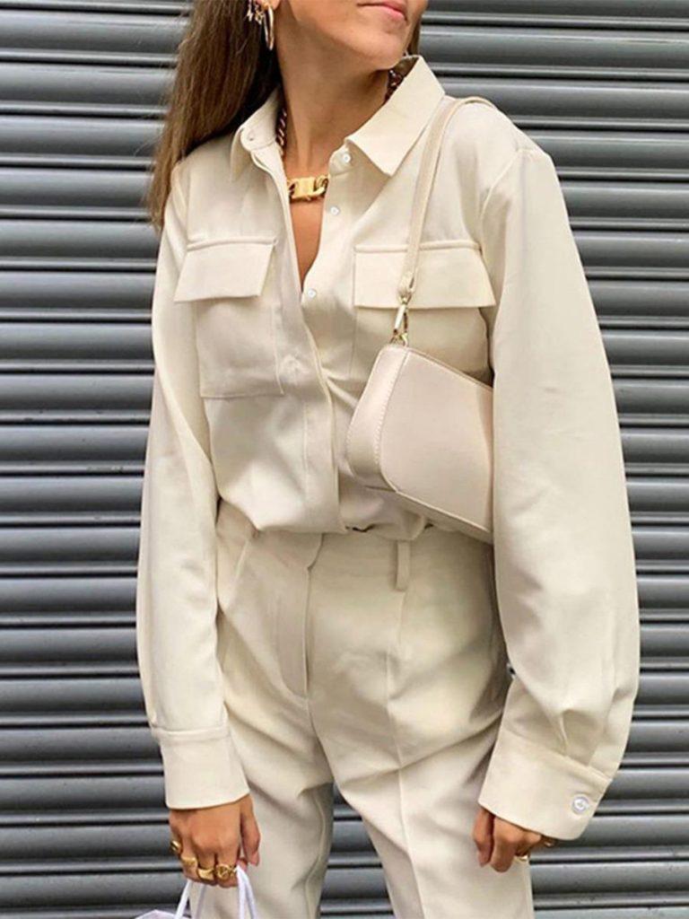 shestar wholesale solid color turn down collar pocket shirt
