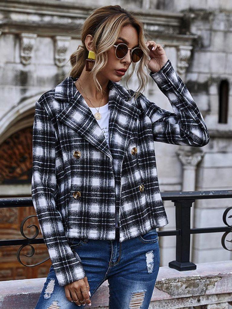 shestar wholesale street style houndstooth plaid jacket