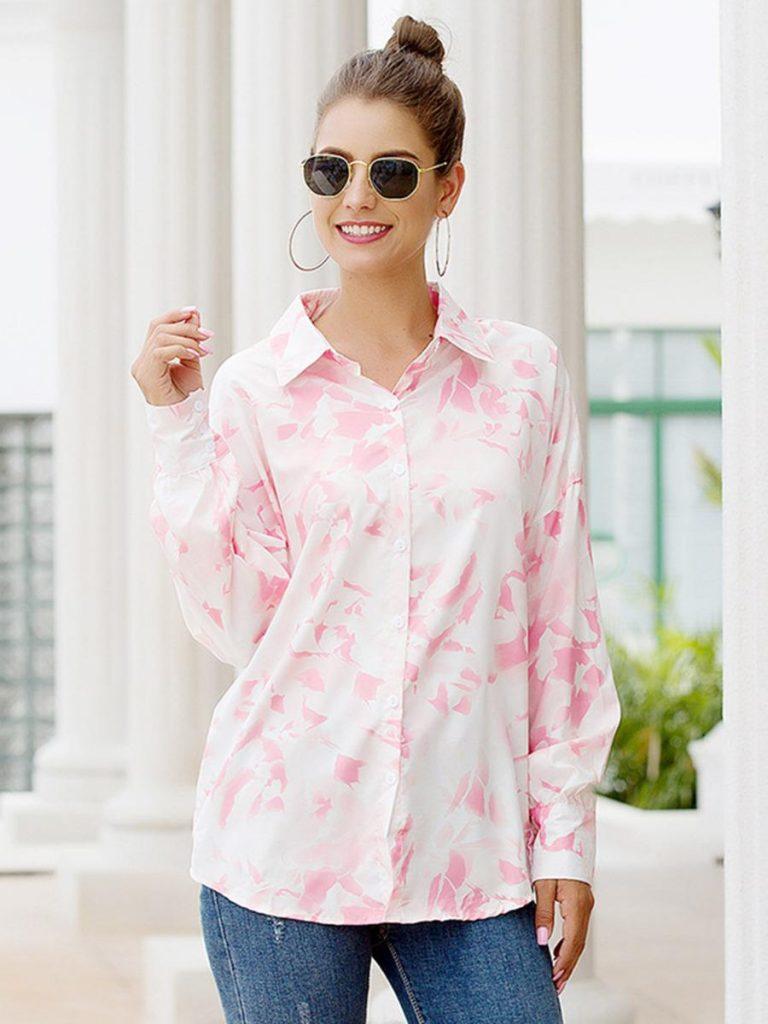 shestar wholesale stylish turn down collar colorblock printed shirt