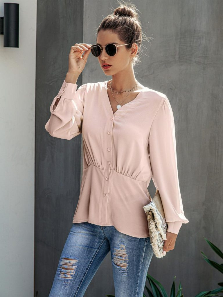 shestar wholesale v-neck button front patchwork women shirt