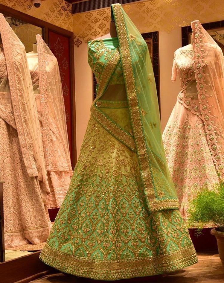 Jaipur Lehenga Shop Green Shaded Satin Lehenga Set with Moti & Cutdana