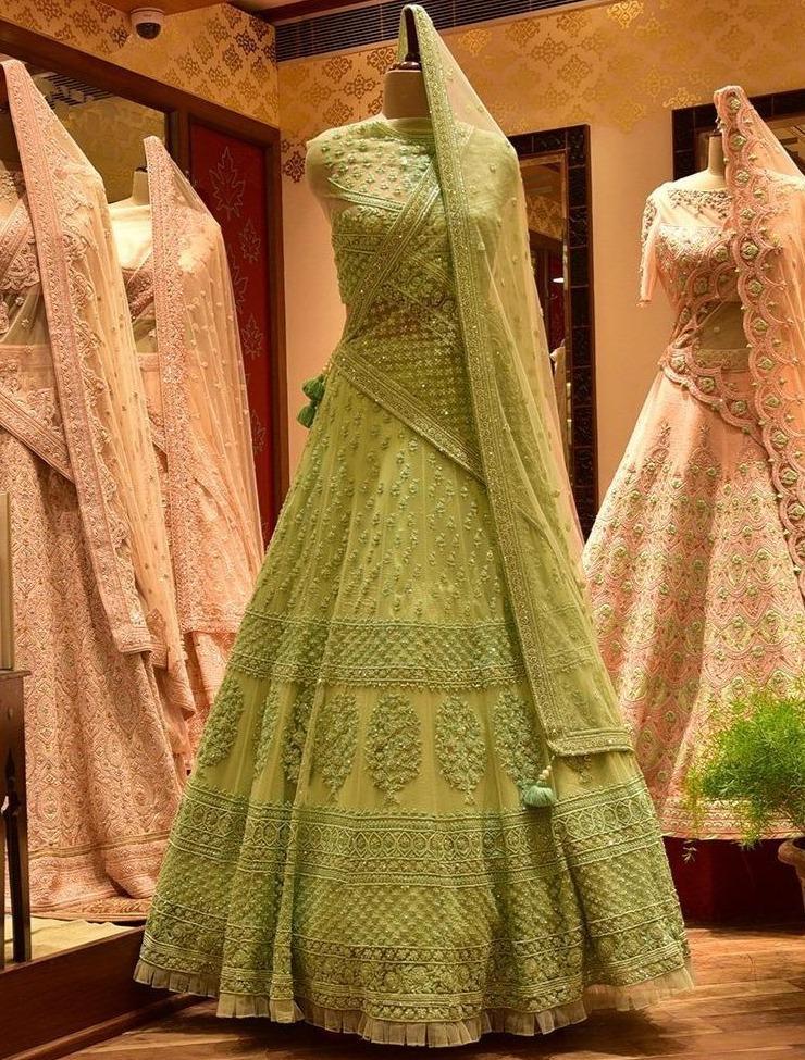 Jaipur Lehenga Shop Pista Green Net Lehenga Set