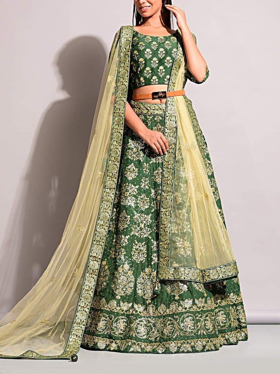 Jaipur Lehenga Shop Green Pearl Brush Lehenga Set in Dola Silk