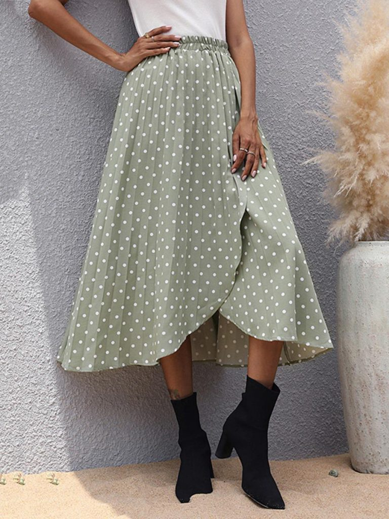 shestar wholesale elastic waist polka dots split wrap skirt
