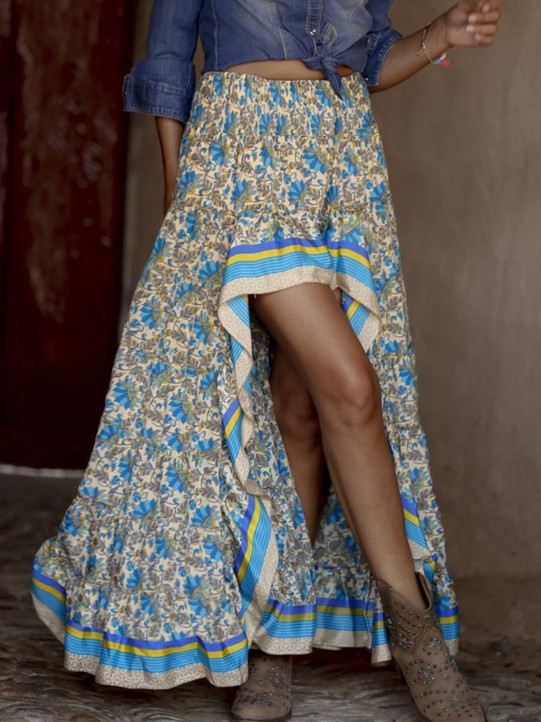 shestar wholesale hi-low hem high rise floral maxi skirt