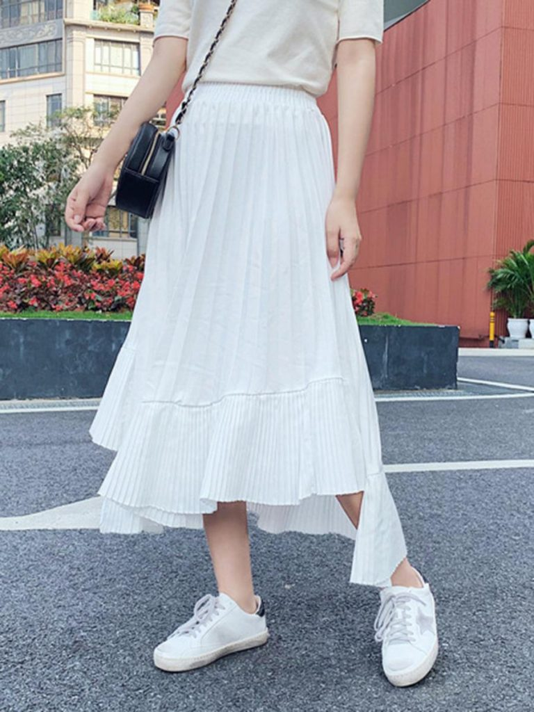 shestar wholesale solid color irregular hem pleated skirt