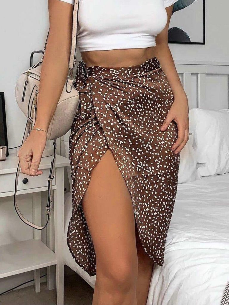 shestar wholesale tie waist polka dots print split skirt