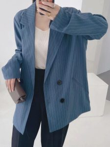Double-breasted Striped Office Blazer Suit