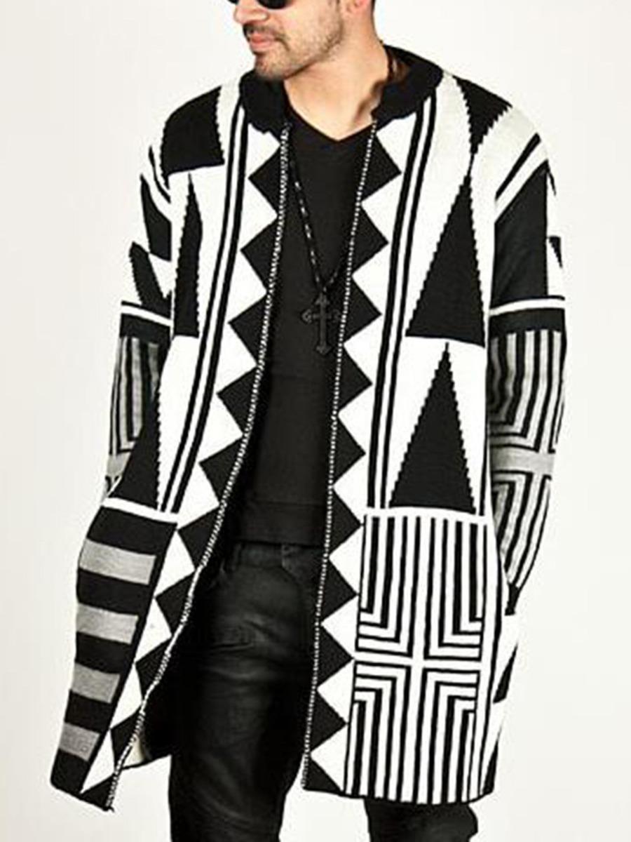 Color Blocking Geometric Pattern Knitting Cardigan