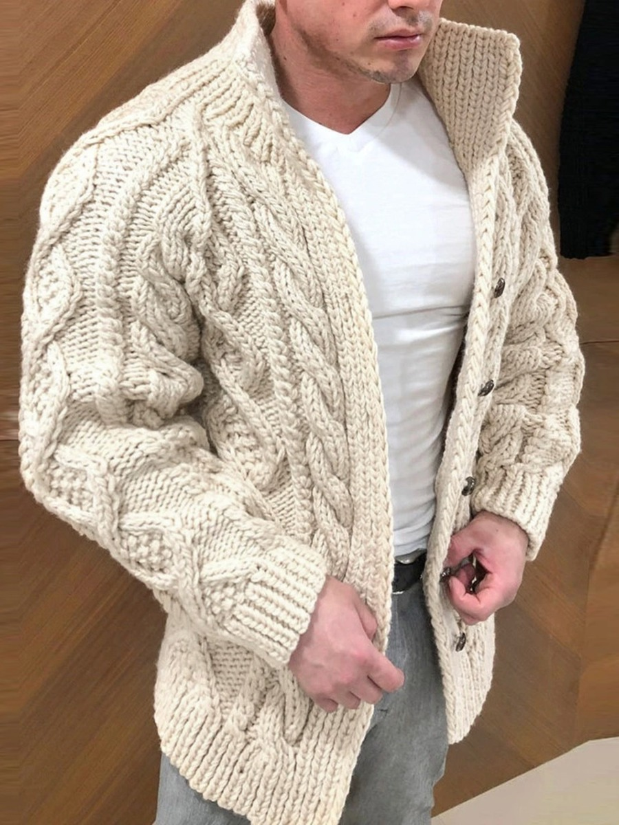 Single Breasted Stand Collar Crochet Cardigan