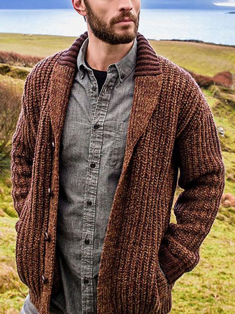 Drop Shoulder Pocket Buttoned Ribbed Knit Sweater Cardigan