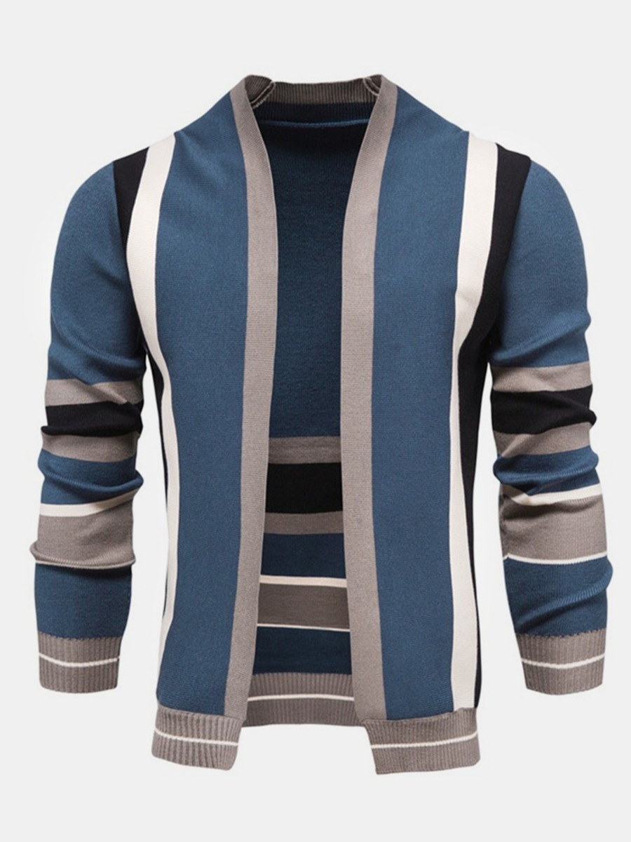 Men's Color Blocking Striped Knitted Cardigan