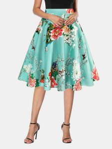 High Waisted Floral Swing Skirt