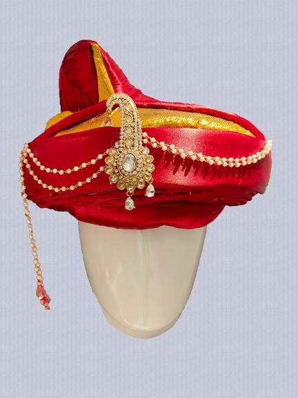 Maroon Satin Peshwai Wedding Safa with Brooch online wedding safa for groom