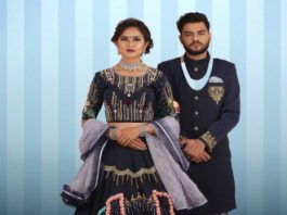 Couple wear navy blue Designer Indo Western and Lehenga choli set - Couples Matching Outfits for Weddings India