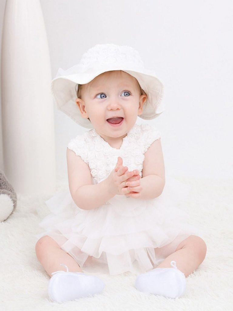 TWO-PIECE INFANT GIRL SLEEVELESS FLOWER MESH BODYSUIT DRESS WITH HAT