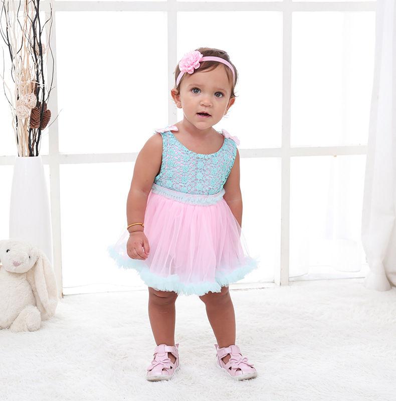 2-PIECE CUTE BABY GIRL LACE ROMPER DRESS MATCHING HEADBAND