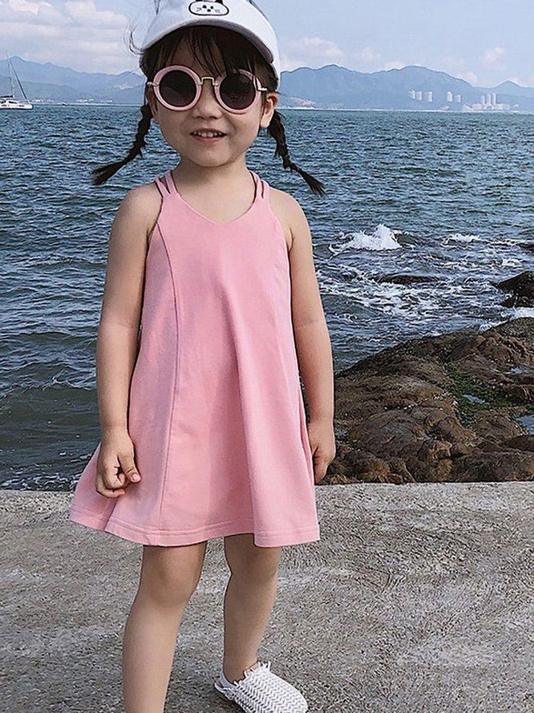 LITTLE GIRL BACKLESS BEACH CAMI DRESS