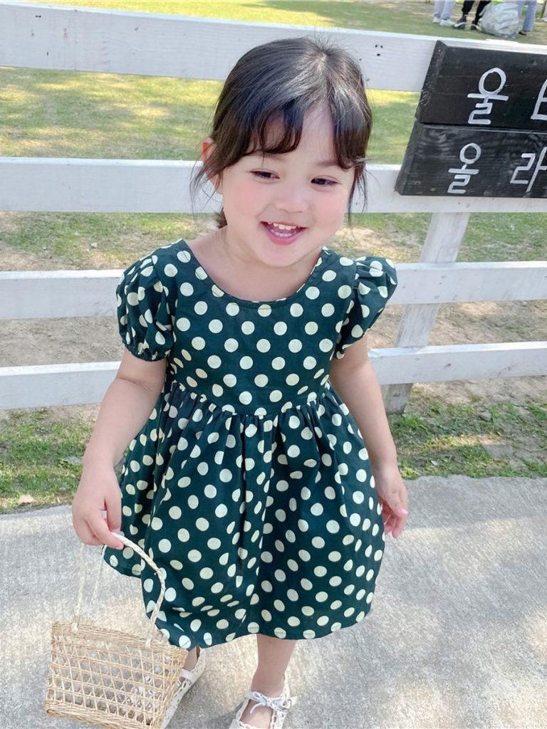 Toddler Girl Polka Dot Print Hollow Back Dress