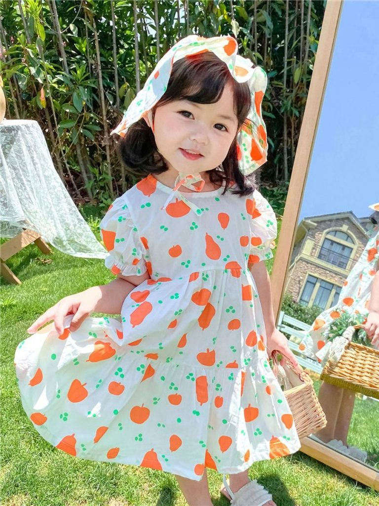 LITTLE GIRL PRINTED PRINCESS PUFF SLEEVE DRESS WITH HAT