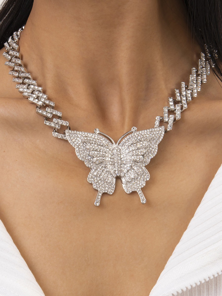 Rhinestone Butterfly Pendant Chain Choker Necklace