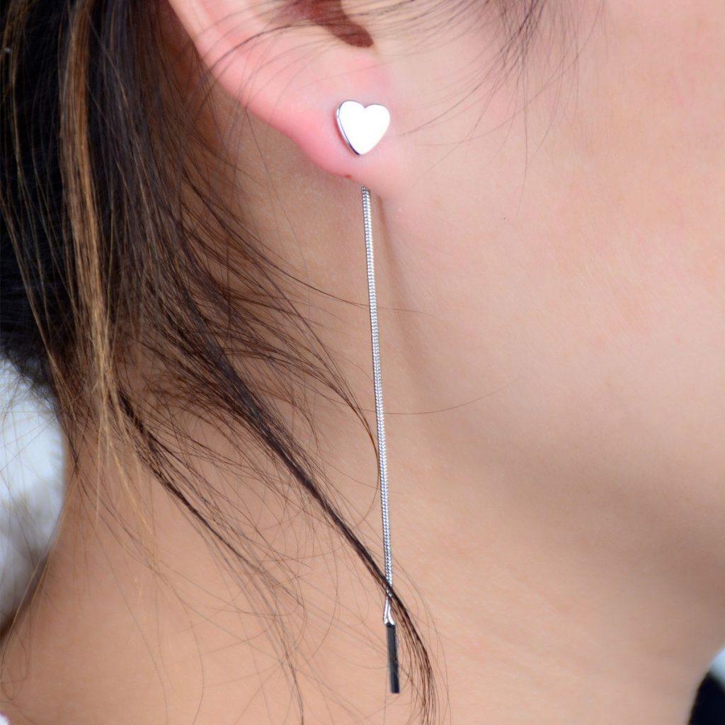 Love Heart Chain Tassel Earrings