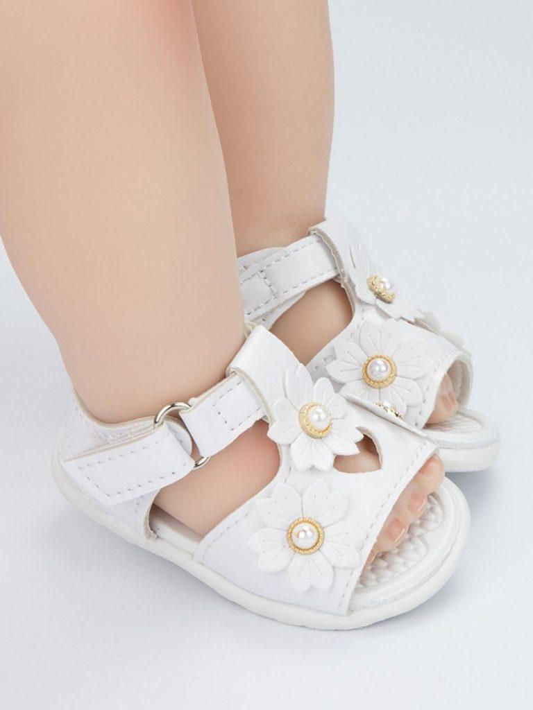 Infant Girl Beaded Flower Sandals