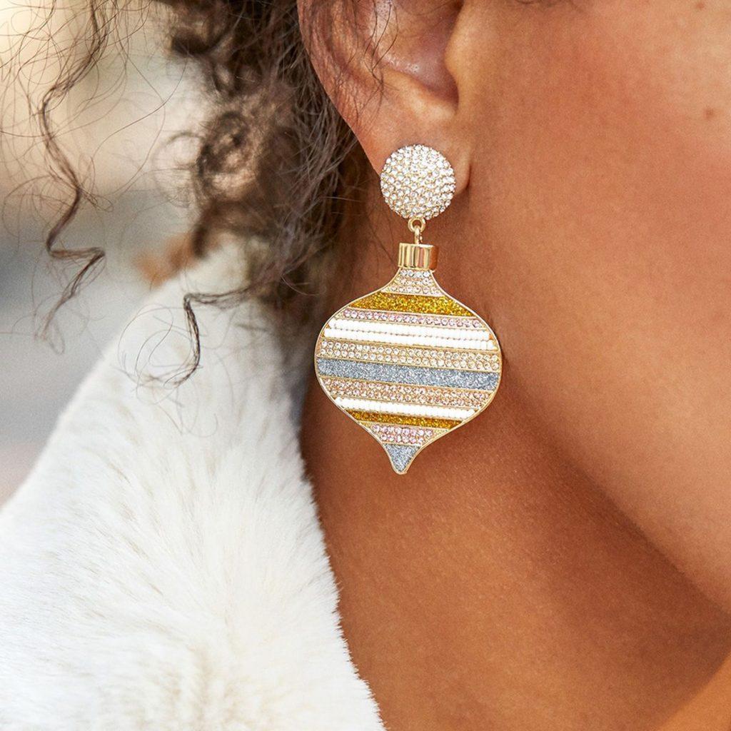 Peach Heart Rhinestone Stripe Drop Earrings