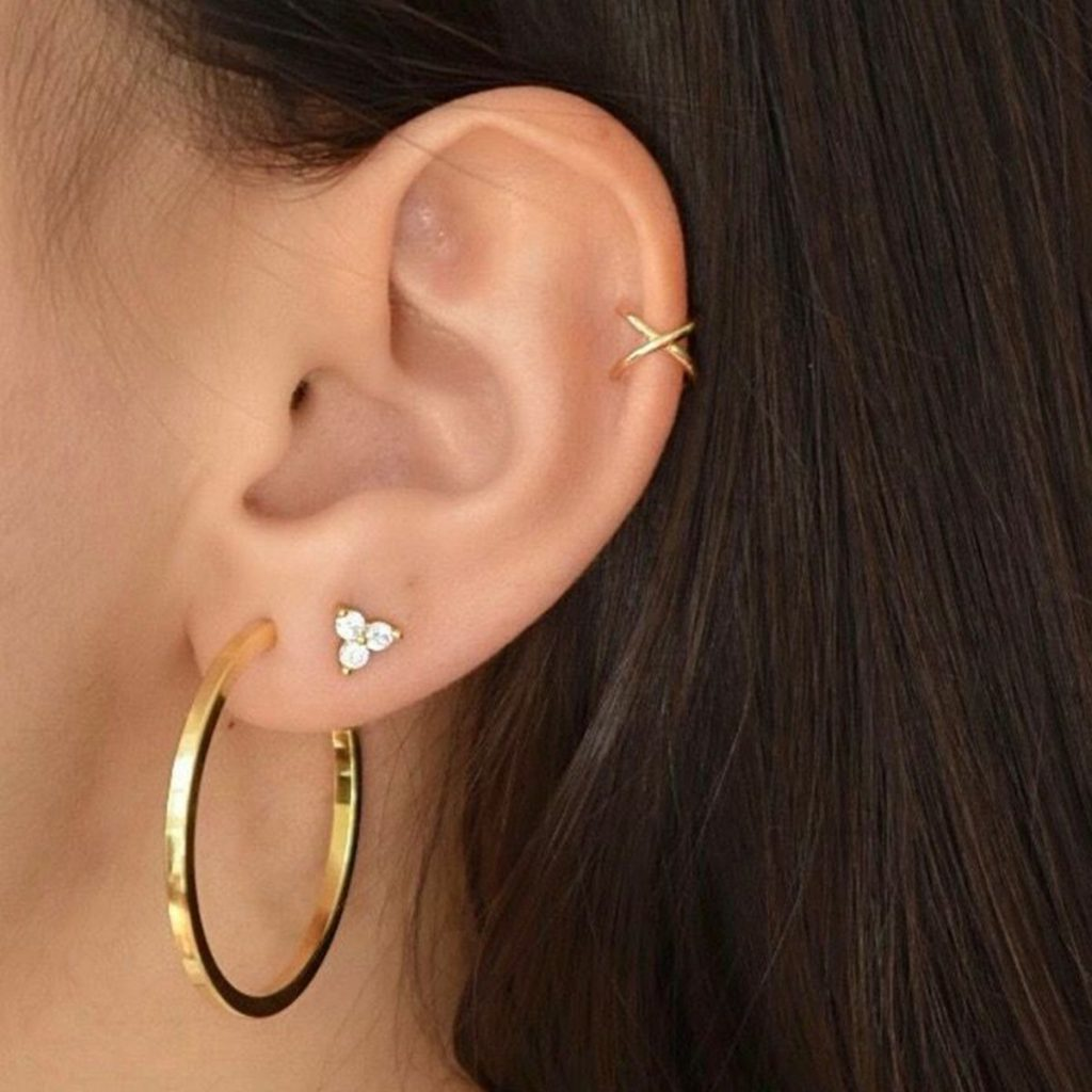 Geometric Circle Leaf Cross Earrings