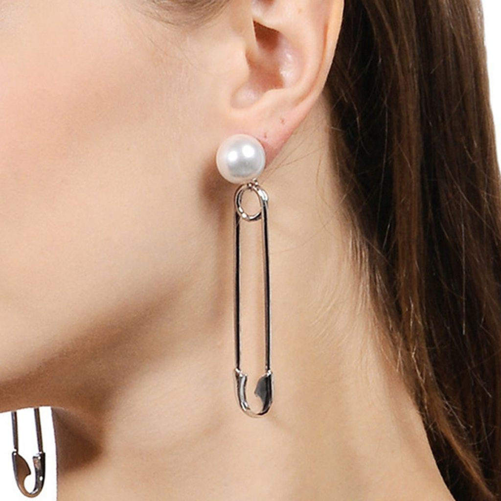 Simple Pearl Paper Clip Alloy Earrings