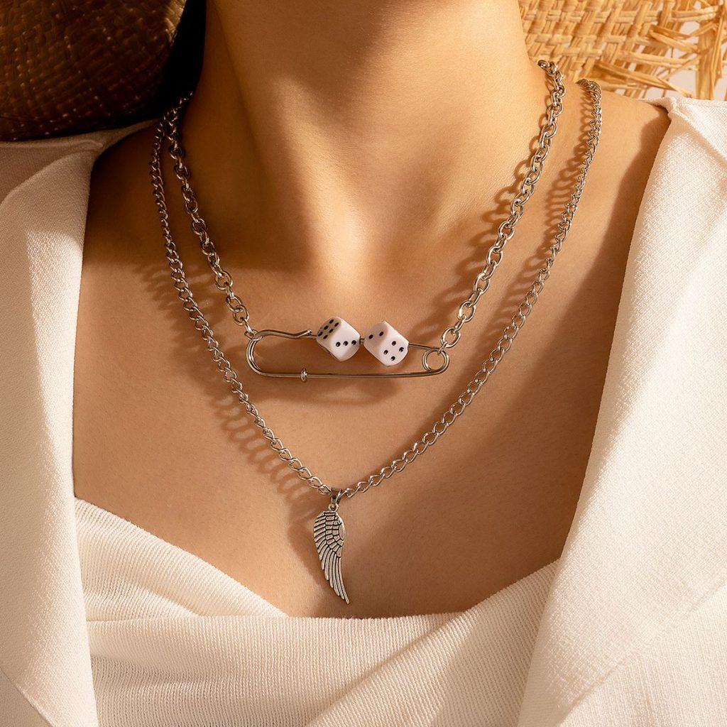Wings Paper Clip Sieve Pendant Necklace