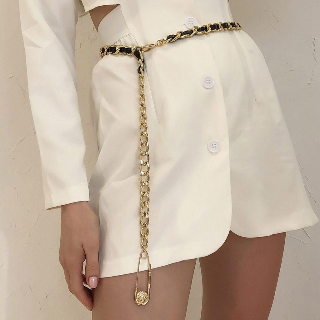 Paper Clip Hangs PU Knit Waist Chain