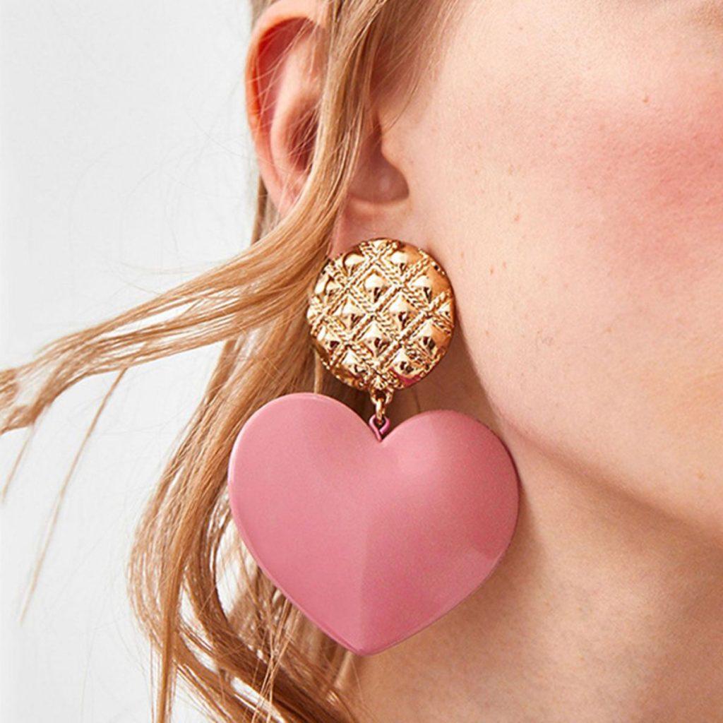 Heart Shaped Resin Pendant Earrings