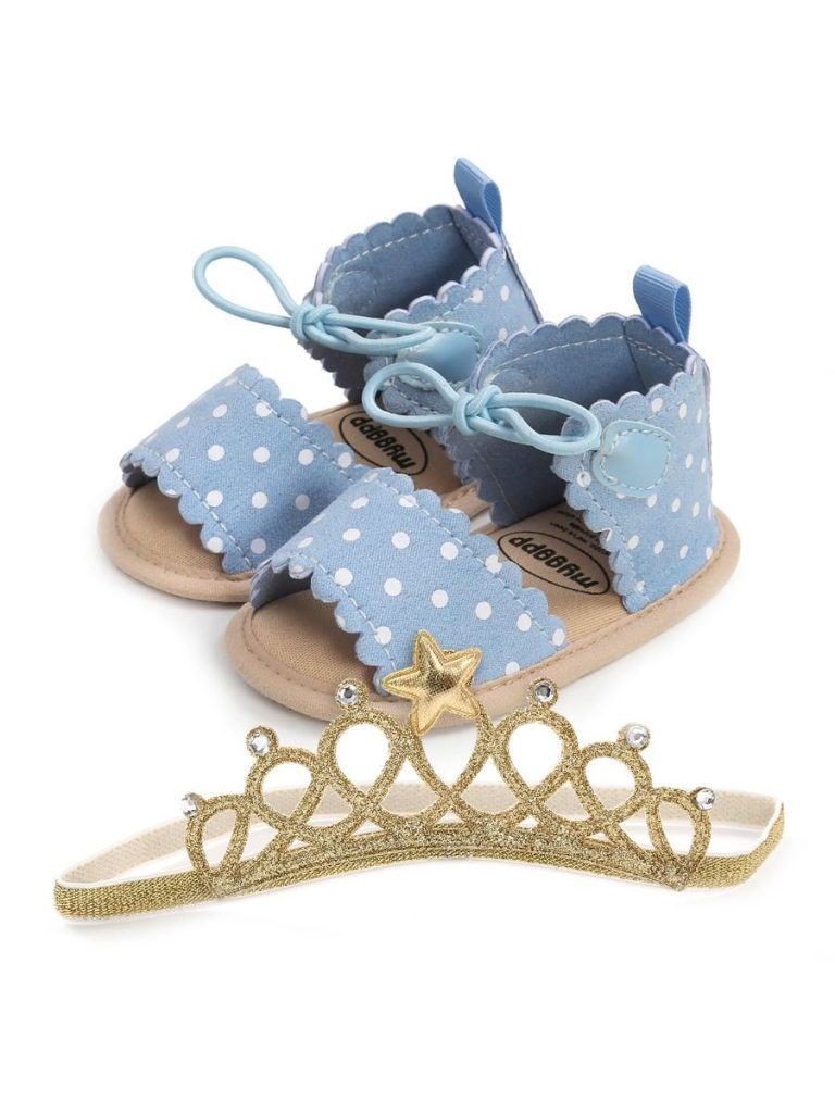 2-Piece Polka Dots Sandals With Headband For Baby Girl