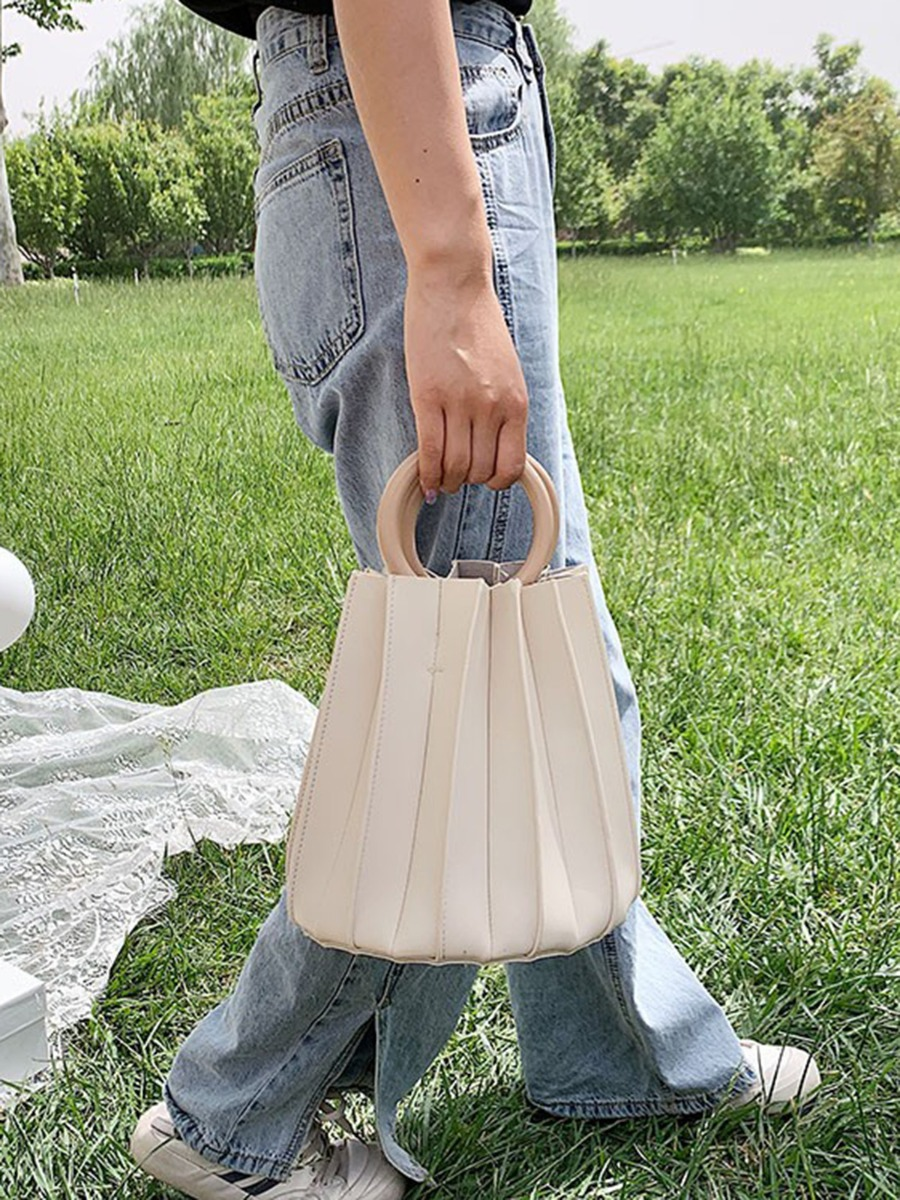 Round Handle Pleated Bucket Handbag