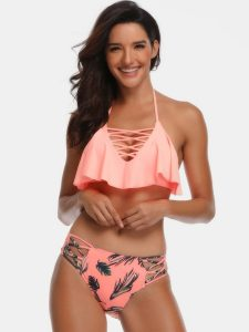 Two Pieces Bikini Swimsuit Ruffle Top And Shorts