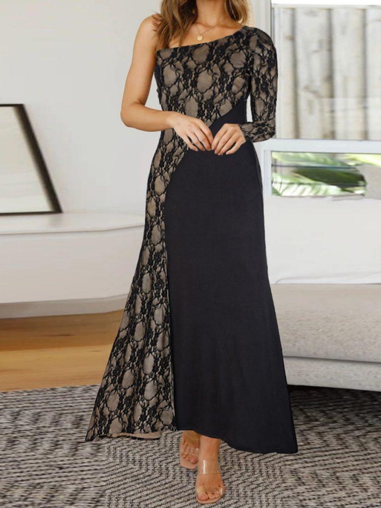 One Shoulder Lace Patchwork Slim Fit Maxi Dress