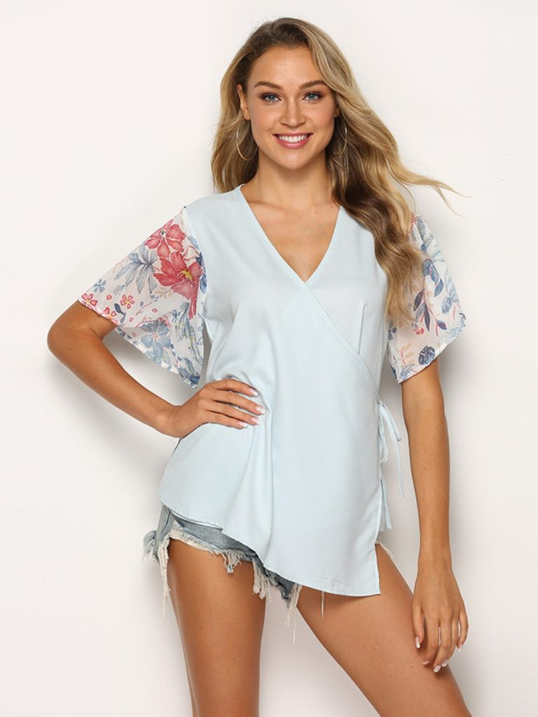 V-neck Floral Sleeve Patchwork Wrapover Top