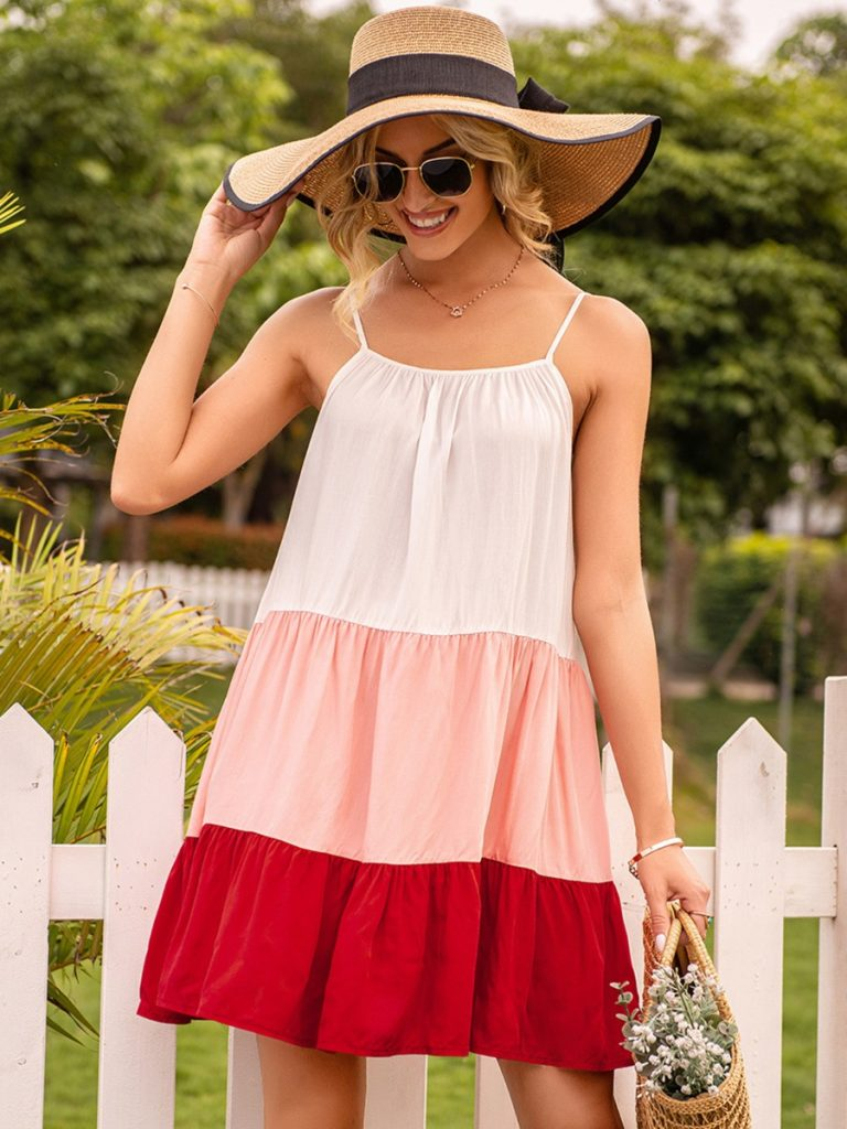 Tiered Pleated Triple Colorblock Sundress