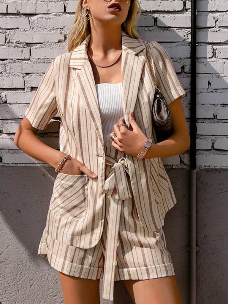 2-piece Striped Office Wear Outfit Blazer With Belted Shorts