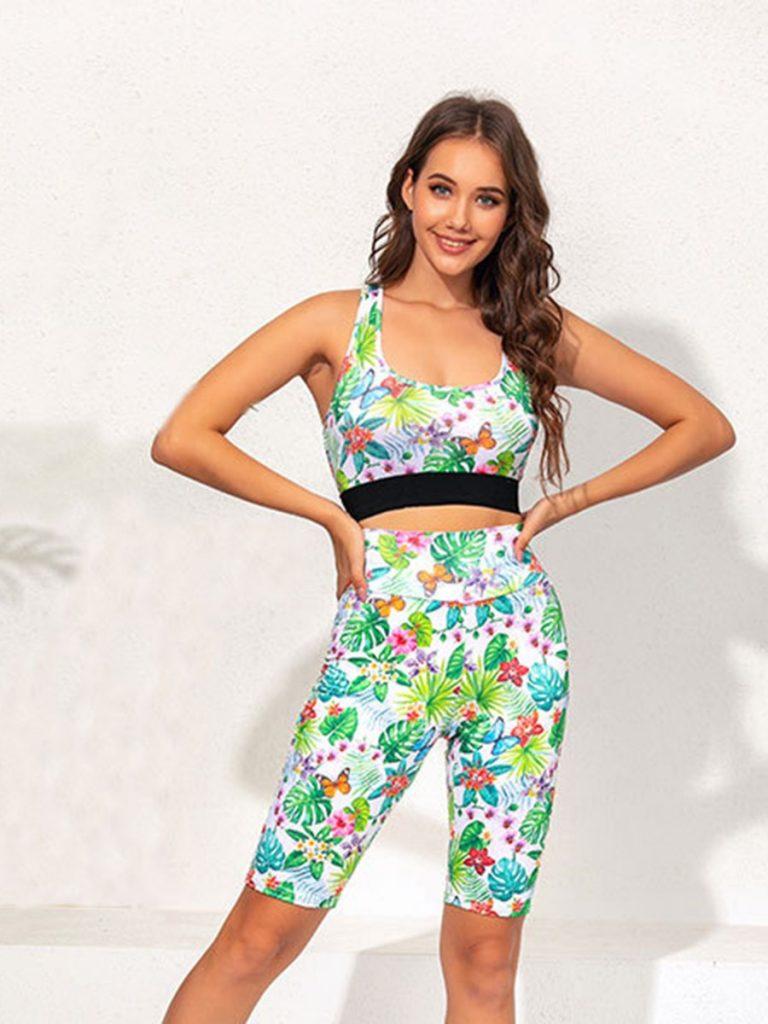 2-piece Allover Flower Leaf Print Tank Top & Biker Shorts Sports Set