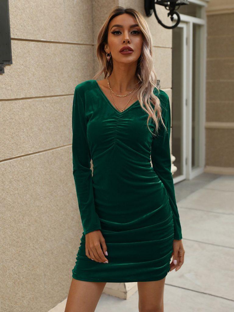 Solid Color V-neck Velvet Ruched Dress
