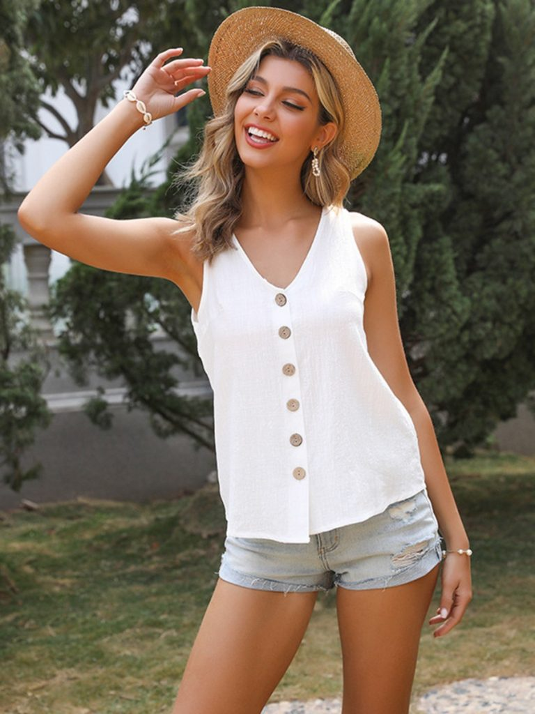 V-neck Buttoned Solid Tank Top