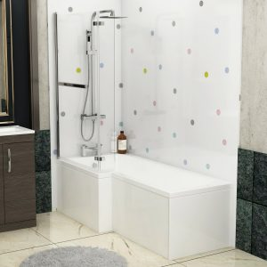 1700 X 850mm L Shaped Shower Bath With Front Panel, Screen, Rail & Flipper Panel + Rimless Close Coupled Toilet & Grey Elm Vanity Unit,