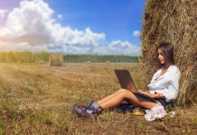 Woman freelancer Sitting In Harvested Field and working in laptop